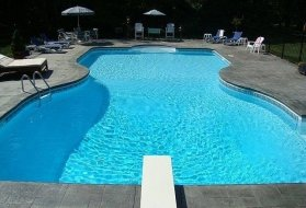 Swimming Pool with Inground Vinyl Liner and Diving Board